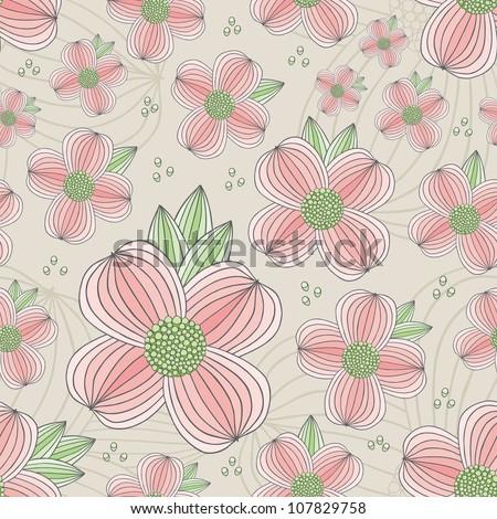 Seamless Dogwood Blossom Pattern - stock vector