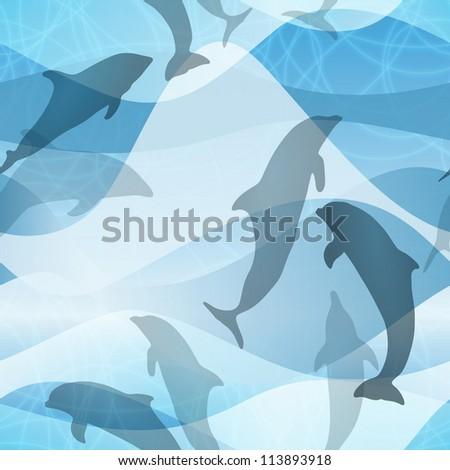 Seamless Dolphin Pattern - stock vector