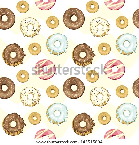 Seamless donuts background, vector - stock vector