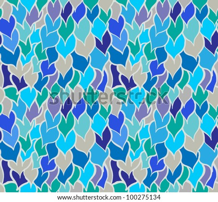Seamless doodle abstract blue ripples/drops pattern - stock vector