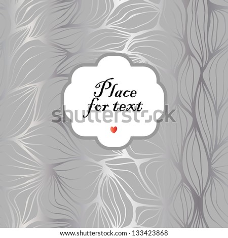 Seamless doodle abstract ripples background with a frame. - stock vector