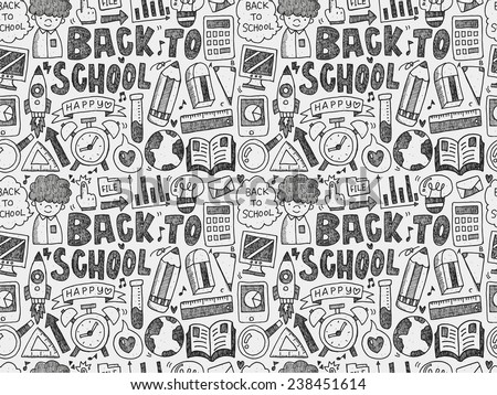 seamless doodle back to school pattern - stock vector