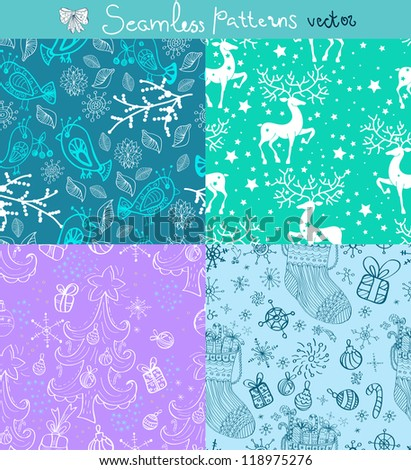 Seamless doodle background set for Christmas or New Year design, vector