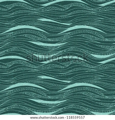 seamless doodle background with waves