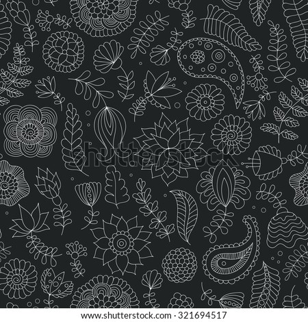 Seamless doodle black and white pattern with flowers. Oriental Indian background in vector for wrapping paper, web wallpaper, fabric, textile and more