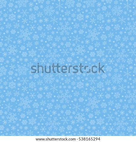 Seamless doodle  blue pattern with snowflakes. Vector illustration