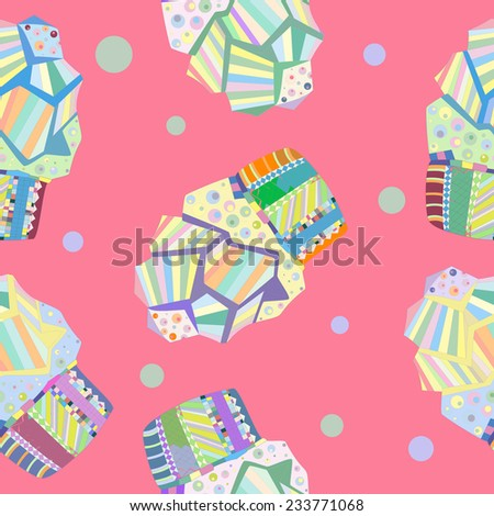 Seamless doodle cake pattern, birthday cake, cupcake, dessert, cookies, Vector illustration for design of gift packs, wrap, patterns fabric, wallpaper, web sites and other. - stock vector