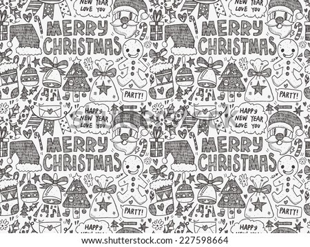 Seamless Doodle Christmas pattern - stock vector