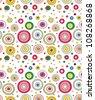 Seamless doodle circles pattern - stock vector