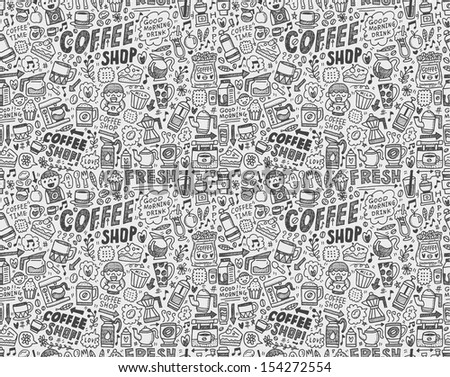 seamless doodle coffee pattern background - stock vector