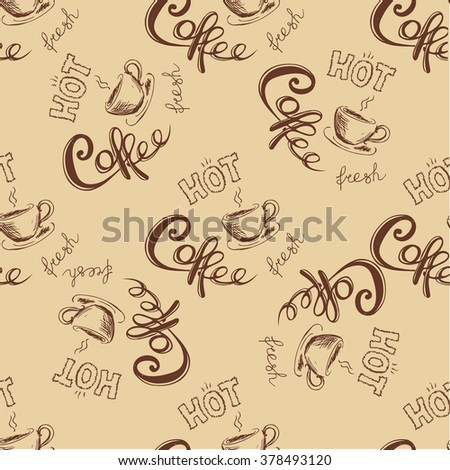 seamless doodle coffee pattern  ,hand drawn vector illustration - stock vector