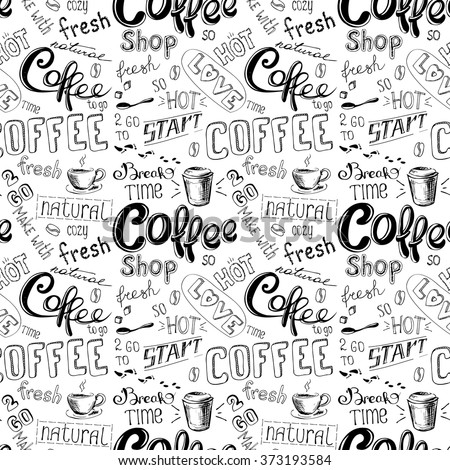 seamless doodle coffee pattern on white  background ,hand drawn vector illustration - stock vector