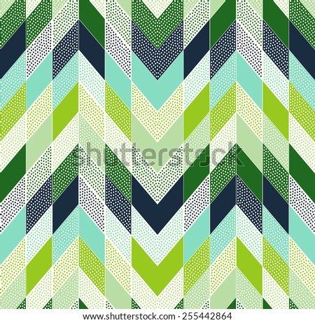 seamless doodle dots zig zag patchwork pattern - stock vector