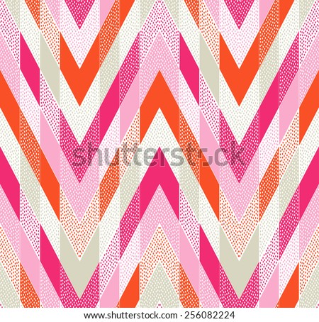 seamless doodle dots zigzag tiles pattern - stock vector