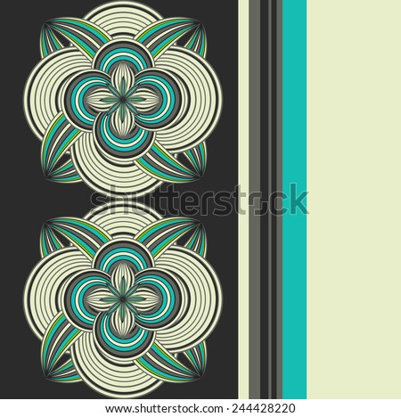 Seamless doodle ethnical flower background in vintage color style - stock vector