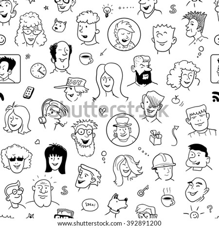 Seamless Doodle Faces Pattern for Cover Design. Black and White Background with Funny People. Vector Illustration - stock vector