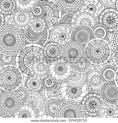 Seamless doodle flower background in vector with doodles, flowers and cucumbers. Circles ethnic floral pattern. Used Clipping mask for easy editing. - stock vector