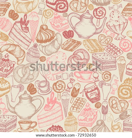 Seamless doodle food pattern dessert - stock vector