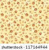 Seamless doodle food pattern in coffee and milk dessert colors - stock vector