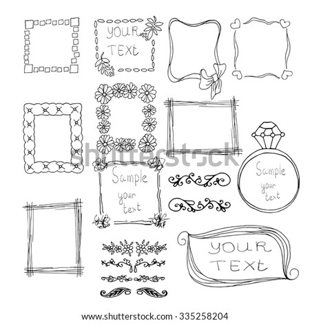 Seamless doodle frame set - stock vector