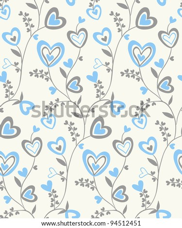 Seamless doodle grey, light-blue and light-beige hearts brunches pattern - stock vector
