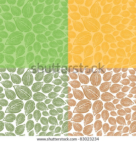 Seamless Doodle Leaf Pattern - stock vector