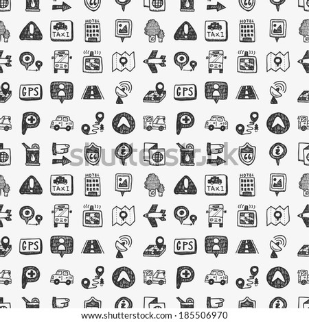 seamless doodle map GPS Location icons pattern - stock vector