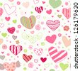 Seamless doodle ornate pattern with ornamental hearts and flowers. Endless cute colorful texture, template for design textile, wrapping paper, package, backgrounds - stock vector