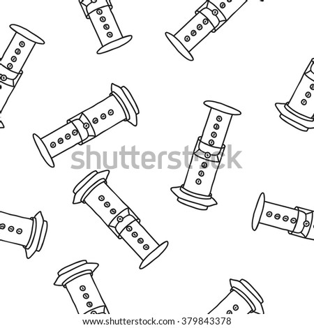 seamless doodle pattern. aeropress. vector illustration