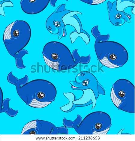 Seamless Doodle Pattern - Big Fishes, dolphin and whale pattern
