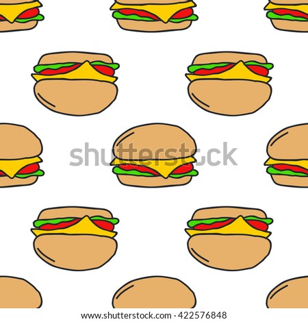 seamless doodle pattern. burger. vector illustration - stock vector