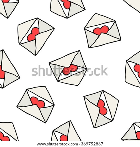 seamless doodle pattern. envelope with heart. vector illustration