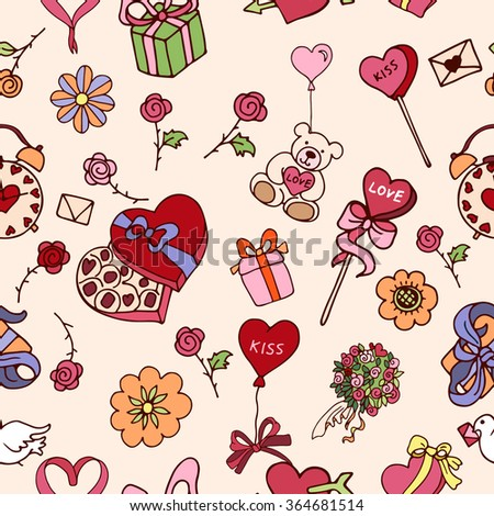 Seamless doodle pattern for valentines day with presents, balloons, bow, rose, hearts, toys in multicolored for girls