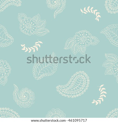 Seamless doodle pattern on light green background