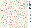 Seamless doodle pattern with colorful flowers, stars, hearts. Endless cute romantic texture. Template for design and decoration backgrounds, package, covers, textile - stock vector