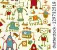 seamless doodle pattern with colorful robots - stock vector