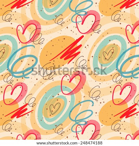 Seamless doodle pattern with curl and hearts on bright beige background. for decoration wedding or saint valentines day card or invitation. seems like hand-drawing with ink pen and transparent marker - stock vector