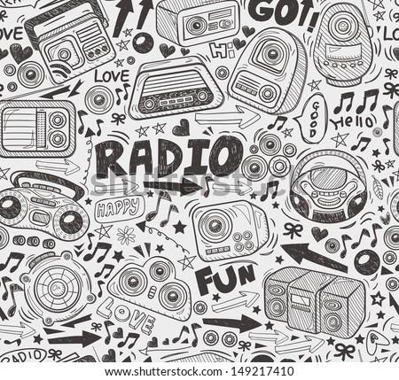 seamless doodle radio pattern - stock vector