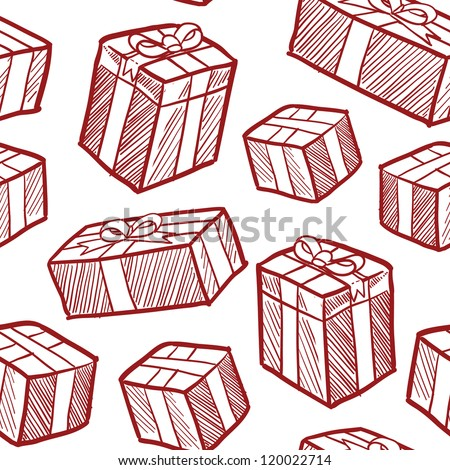 Seamless doodle style Christmas or holiday presents vector background. Ready to be tiled. - stock vector