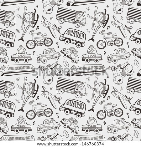 seamless doodle transport pattern - stock vector