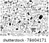 seamless doodle web pattern - stock vector