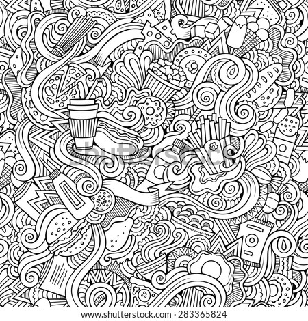Seamless doodles abstract fast food pattern - stock vector