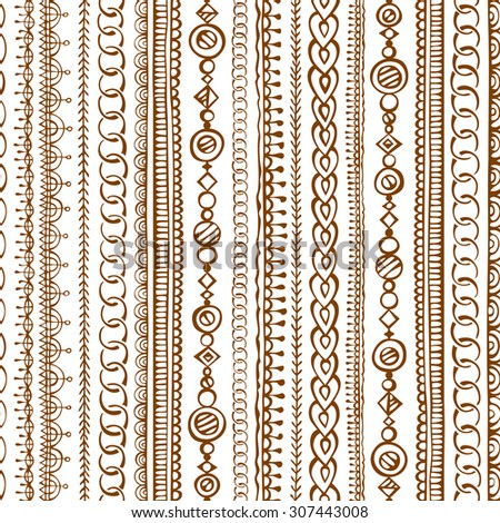 Seamless  doodles ethnic pattern. Vector hand-drawn boundless texture can be used for web page backgrounds, wallpapers, wrapping papers, invitations and congratulations. - stock vector