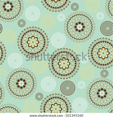 Seamless dots circle in blue and brown - stock vector