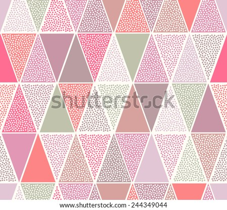 seamless dots triangle doodle pattern - stock vector