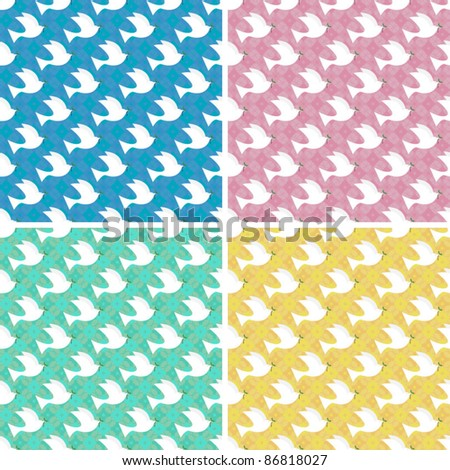 seamless dove pattern background - stock vector