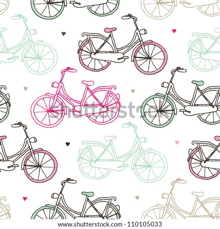 Seamless drawing dutch bicycle background pattern in vector