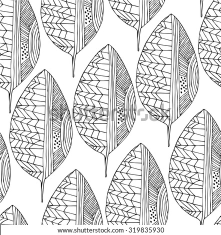 Seamless drawing pattern with decorative leaves. Vector line art - stock vector