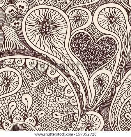 Seamless drawn doodle pattern