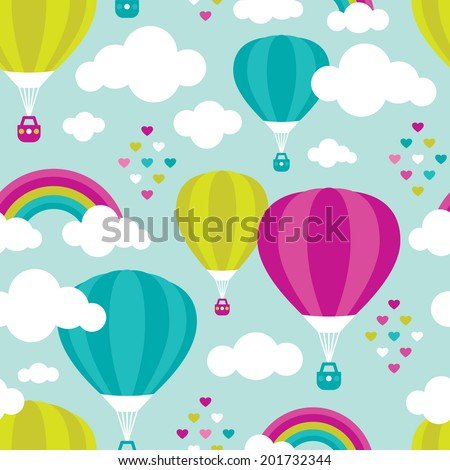 Seamless dreamy sky and hot air balloon rainbow background pattern in vector - stock vector